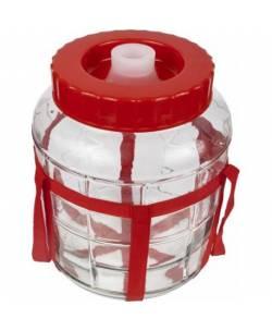 Klaaspurk käärimiseks, säilitamiseks, sangaga ja vesilukuga 5L