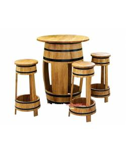 Oak table + 4 bar stools